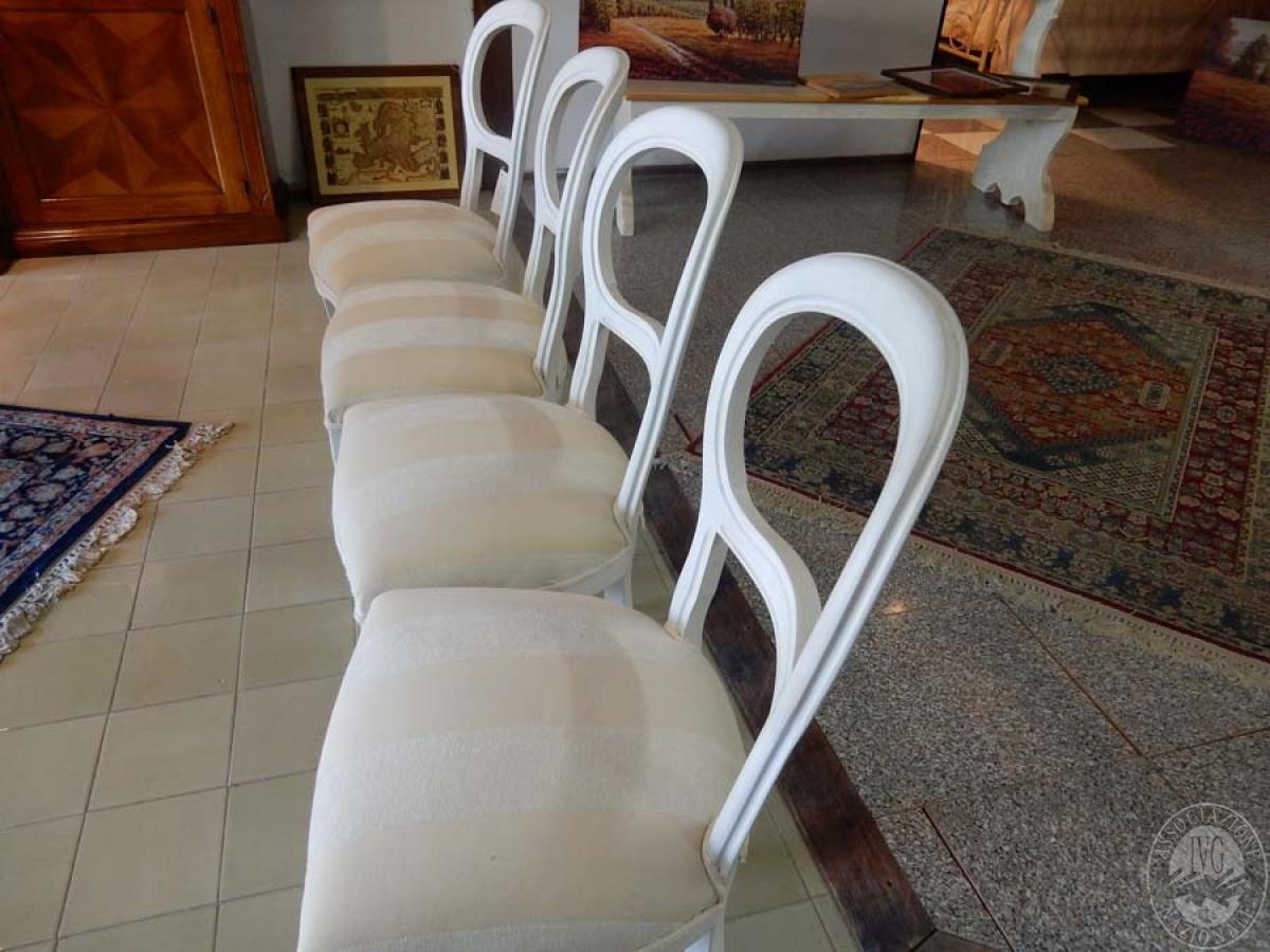 Rif. 10) N. 4 sedie in legno bianco con seduta imbottita  VENDITA ONLINE