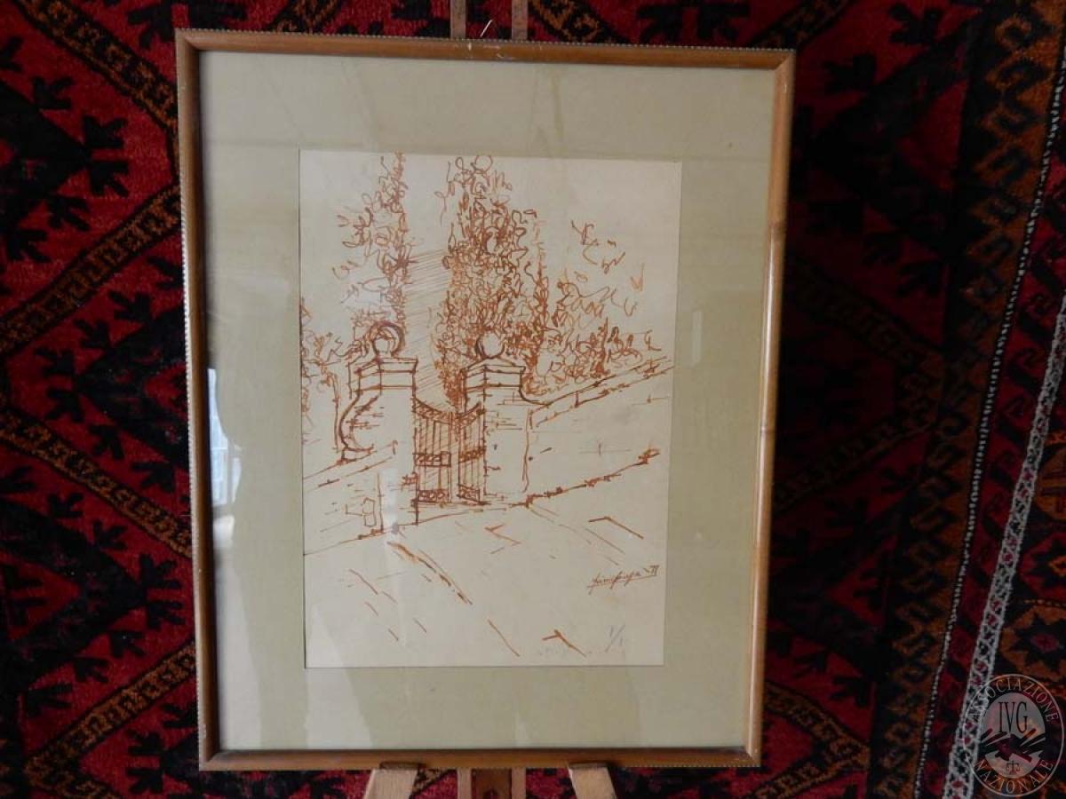 Rif. 1) Opera d'arte di Giuseppe Friscia: matita rossa su carta bianca   VENDITA ONLINE