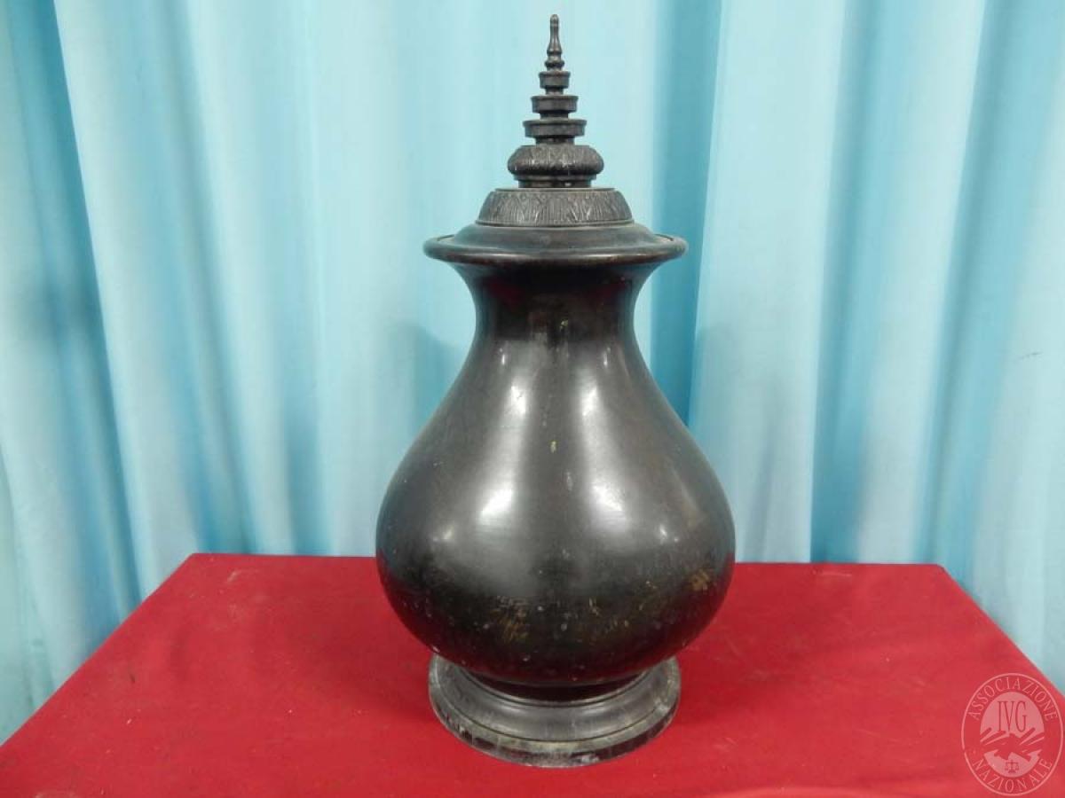 Rif. 18) Vaso in metallo nero con coperchio    GARA ONLINE 15 OTTOBRE 2021