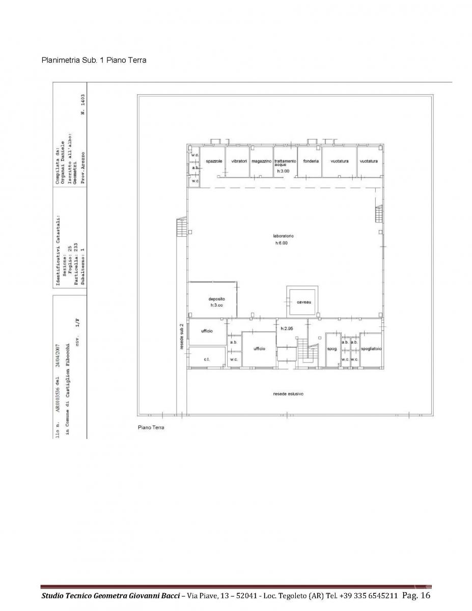 Laboratorio artigianale a CASTIGLION FIBOCCHI, via SETTE PONTI 9